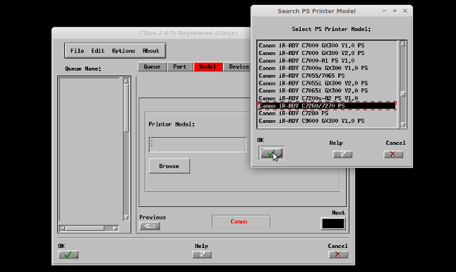 Select printer model screenshot